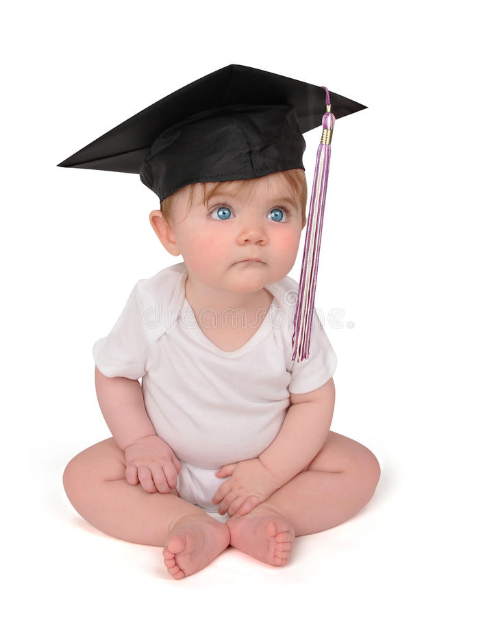 Bambino di graduazione di formazione su bianco fotografia stock libera da diritti