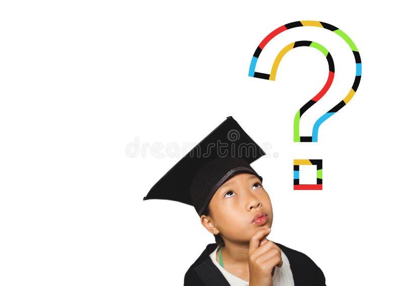 Bambino di laurea istruito con il punto interrogativo variopinto illustrazione di stock