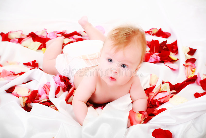 In bambino di rosa fotografia stock