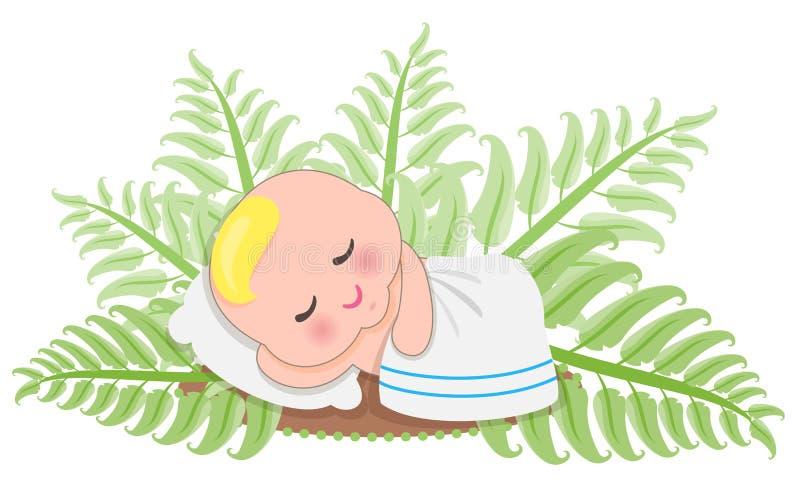 Bambino di sonno in felce illustrazione vettoriale