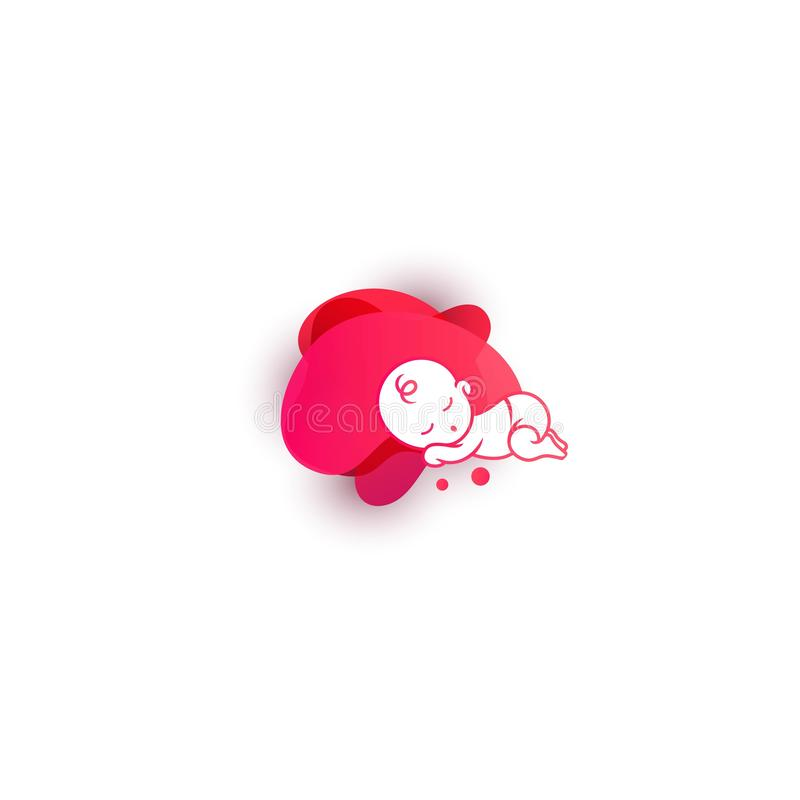 Bambino di sonno su fondo fluido illustrazione di stock