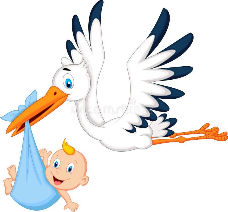 Bambino di trasporto della cicogna del fumetto illustrazione di stock