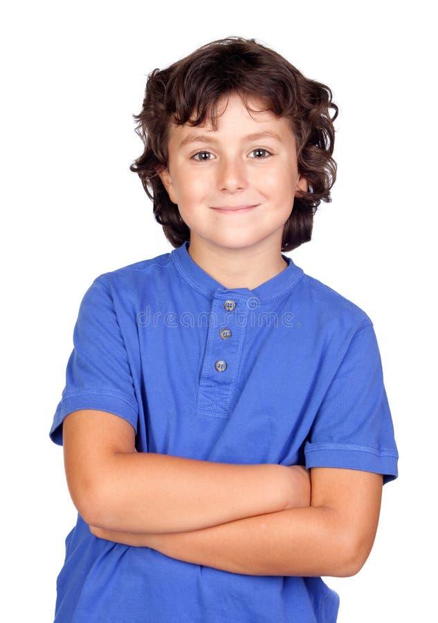 Bambino divertente con la maglietta blu fotografie stock