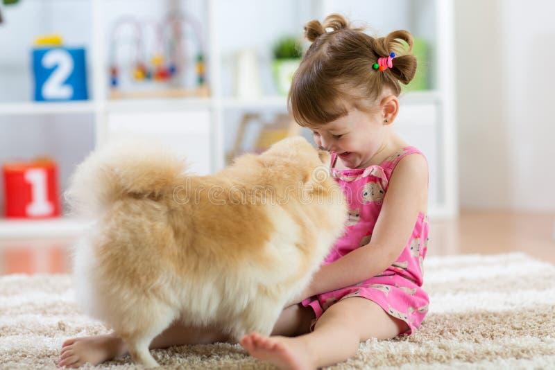 Bambino divertente con lo Spitz del cane a casa fotografia stock libera da diritti
