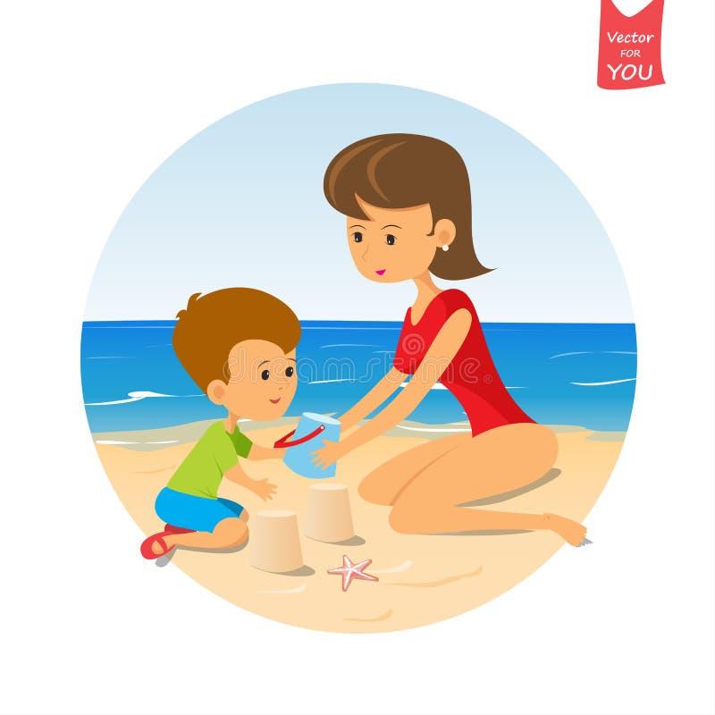 Bambino divertente e mamma svegli del fumetto che giocano sulla spiaggia illustrazione vettoriale