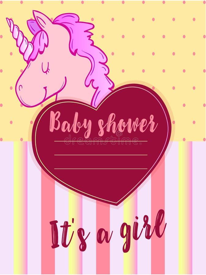 Bambino dolce metrico per una ragazza con un unicorno rosa royalty illustrazione gratis
