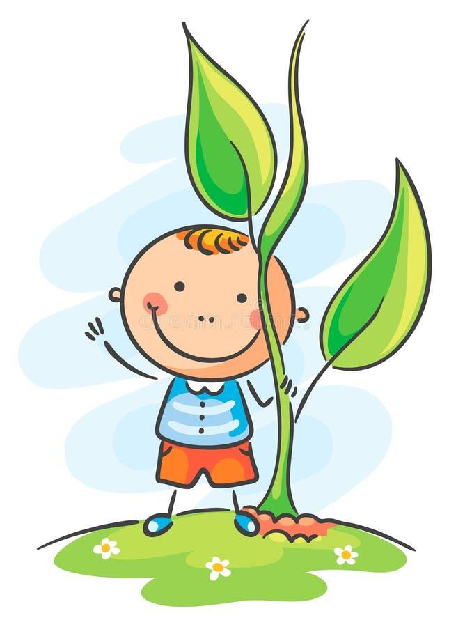 Bambino e germoglio gigante illustrazione vettoriale