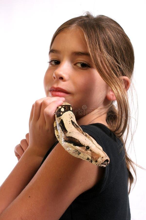 Bambino e serpente immagini stock