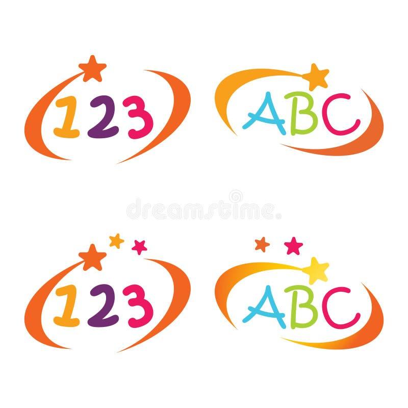 Bambino e simbolo di istruzione di alfabeto e di numero della lettera di asilo royalty illustrazione gratis