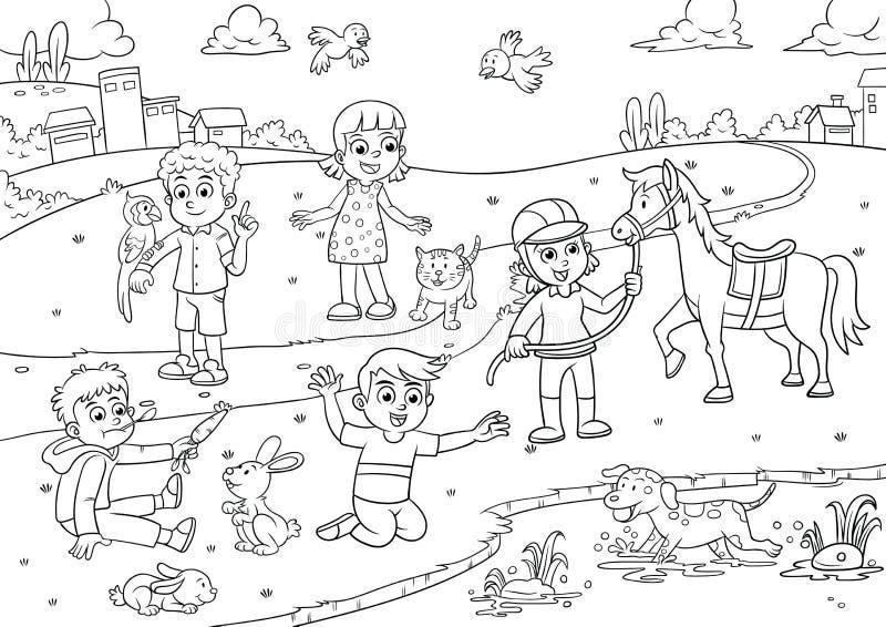 Bambino ed animale domestico nel fumetto del parco per colorare illustrazione vettoriale
