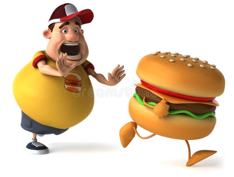 Bambino ed hamburger grassi illustrazione di stock
