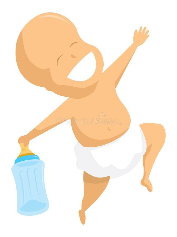 Bambino felice che balla con la sua bottiglia illustrazione vettoriale