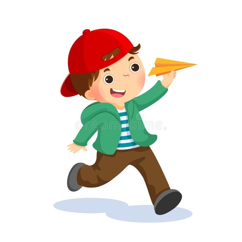 Bambino felice che gioca con l'aeroplano di carta illustrazione vettoriale