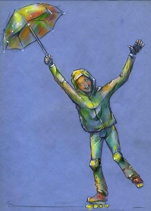 Bambino felice che rollerscating nella pioggia royalty illustrazione gratis