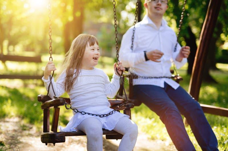 Bambino felice con sindrome di Down immagine stock libera da diritti