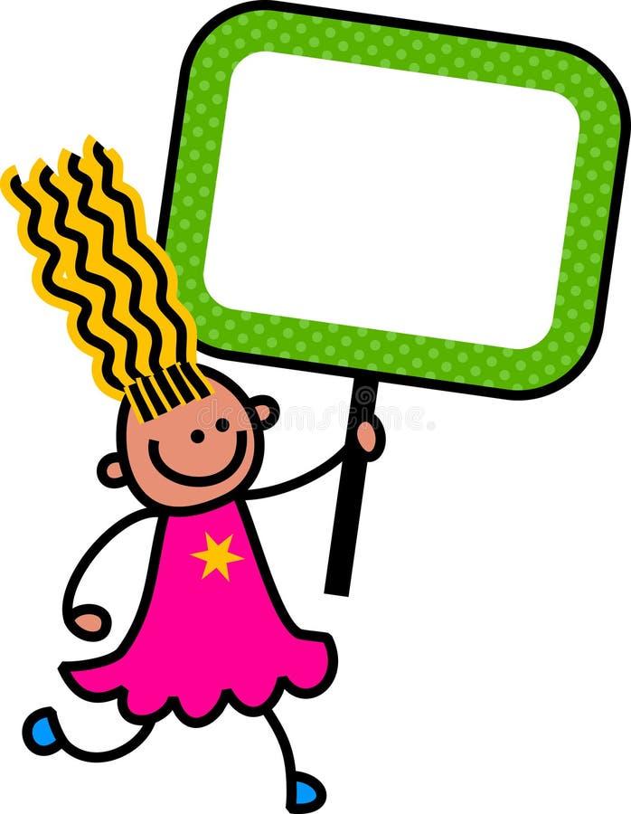 Bambino felice del segno illustrazione di stock