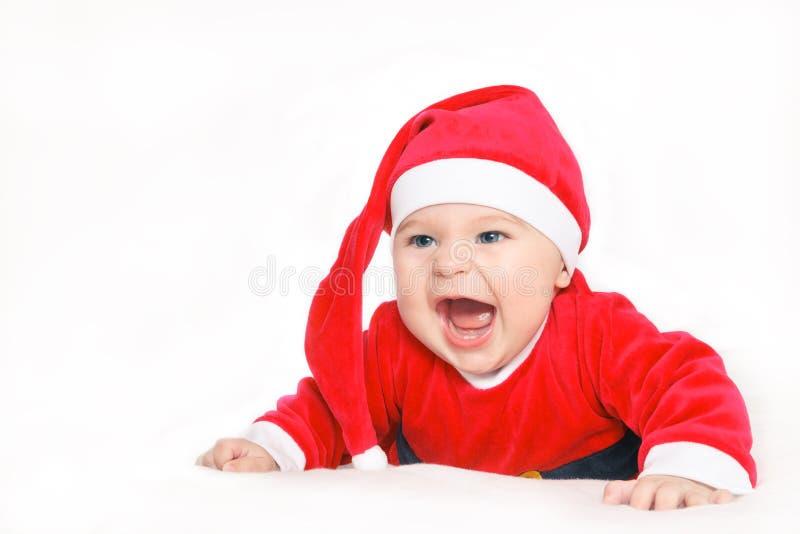 Bambino felice il Babbo Natale immagine stock libera da diritti