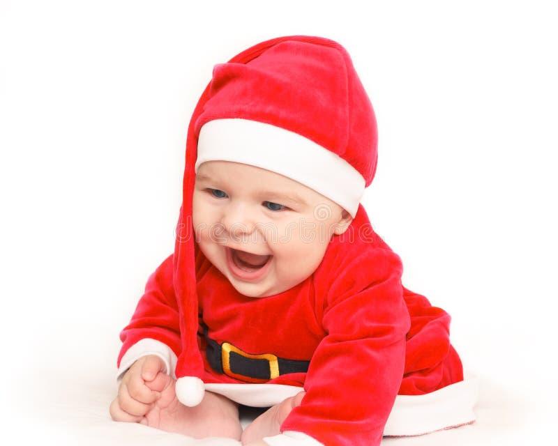 Bambino felice il Babbo Natale fotografia stock