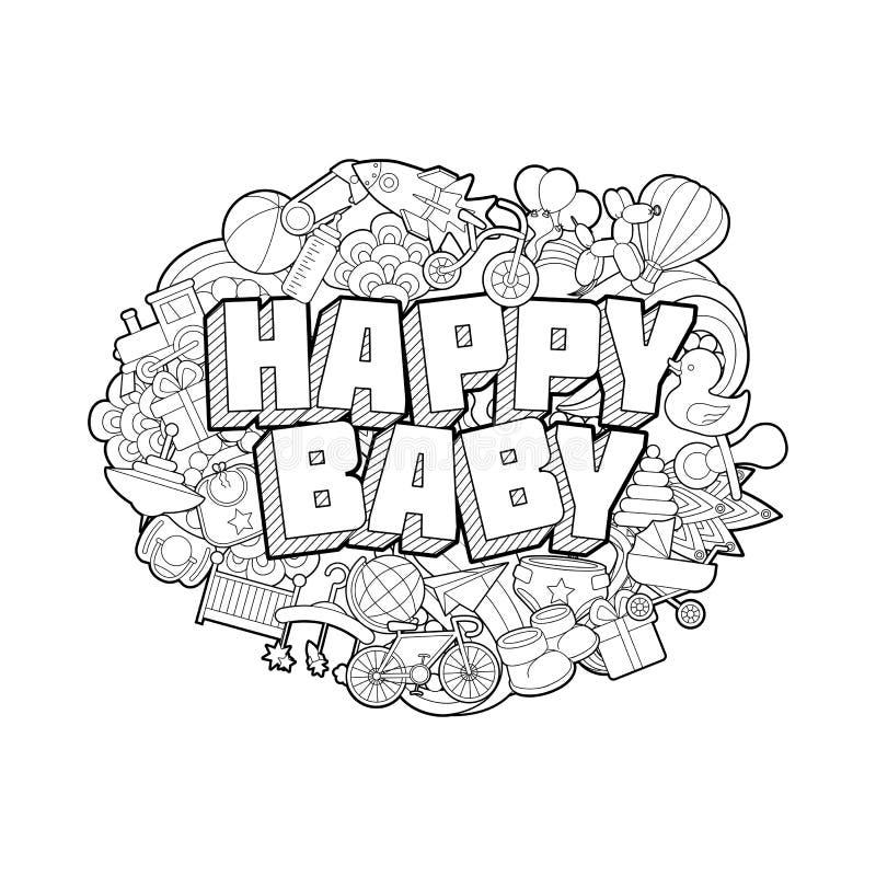 Bambino felice - iscrizione della mano e schizzo degli elementi di scarabocchi illustrazione di stock