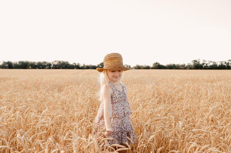 Bambino felice nel giacimento di grano di autunno Bella ragazza con capelli bianchi in un cappello di paglia con grano maturo in  fotografie stock