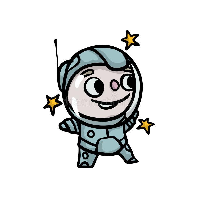 Bambino felice sveglio in costume speciale di protezione dell'astronauta illustrazione vettoriale