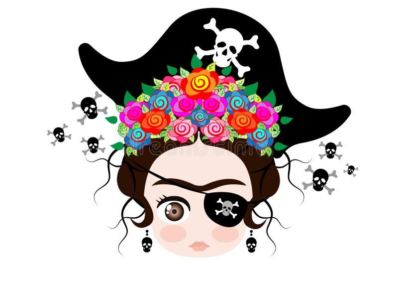 Bambino Frida Kahlo di Emoji con la corona e dei fiori variopinti, icona Emoji, vettore del pirata isolati illustrazione di stock
