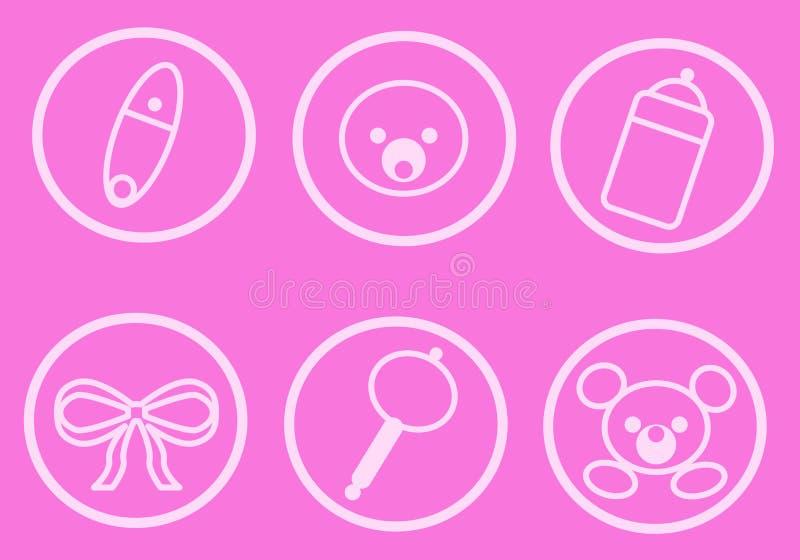 Bambino Icons_Pink royalty illustrazione gratis