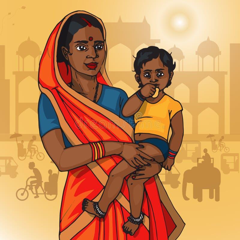 Bambino indiano della tenuta della donna fotografie stock