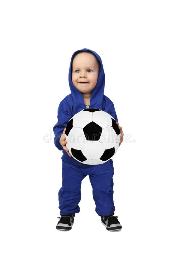 Bambino infantile con pallone da calcio fotografie stock libere da diritti