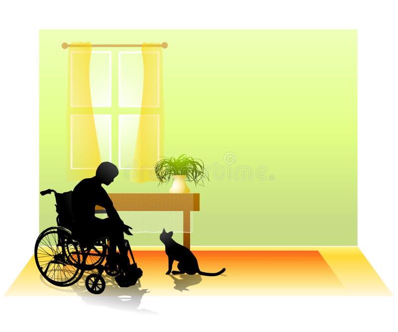 Bambino invalido e gatto nella sala royalty illustrazione gratis