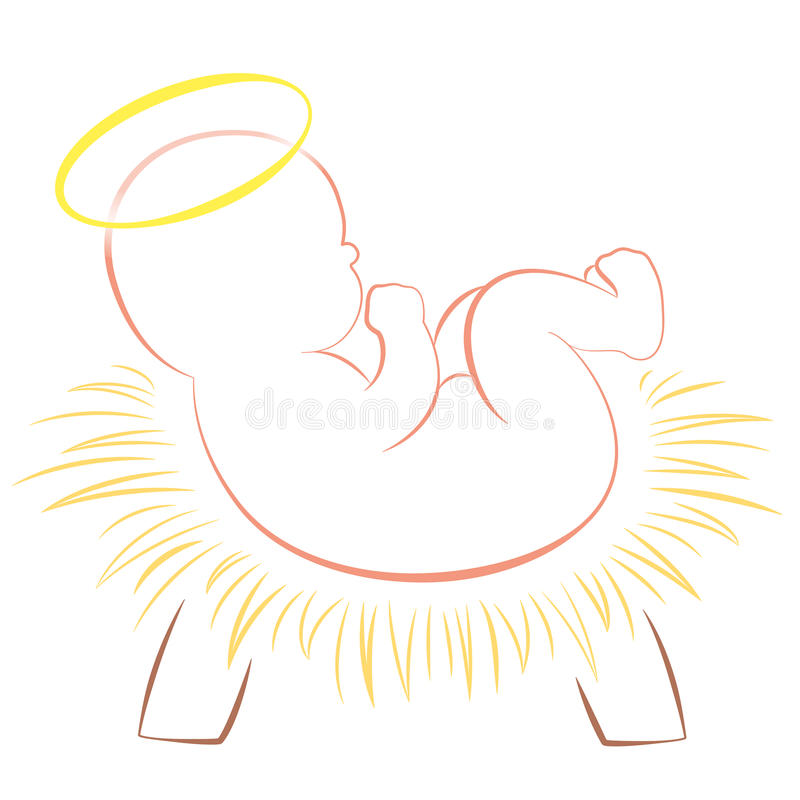 Bambino Jesus Christmas Crib White illustrazione vettoriale
