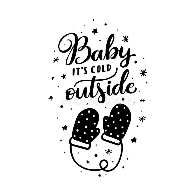 Bambino la sua tipografia di natale dell'esterno di freddo Illustrazione di vettore illustrazione di stock