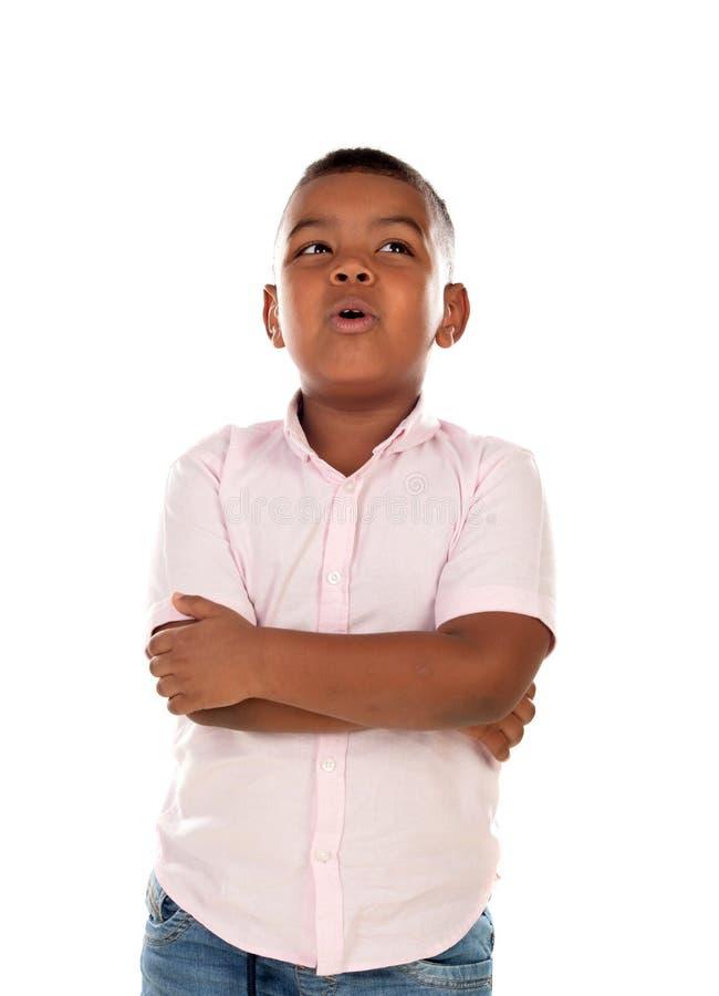Bambino latino pensieroso fotografia stock libera da diritti