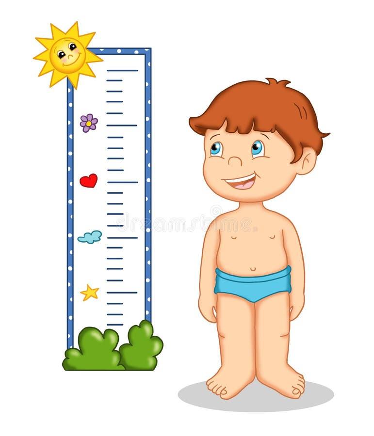 Bambino maschio e misure illustrazione vettoriale