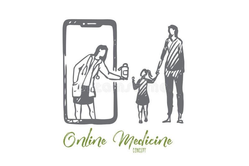 Bambino, medico, online, medicina, concetto del telefono cellulare Vettore isolato disegnato a mano illustrazione di stock