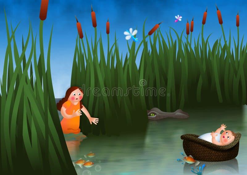 Bambino Mosè e Miriam illustrazione di stock