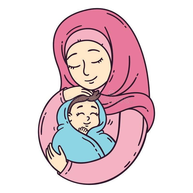 Bambino musulmano della tenuta della madre illustrazione di stock