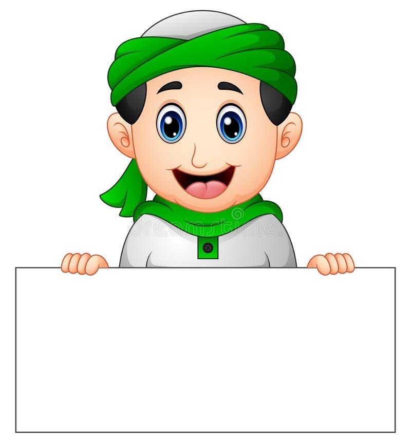 Bambino musulmano felice che tiene segno in bianco illustrazione di stock