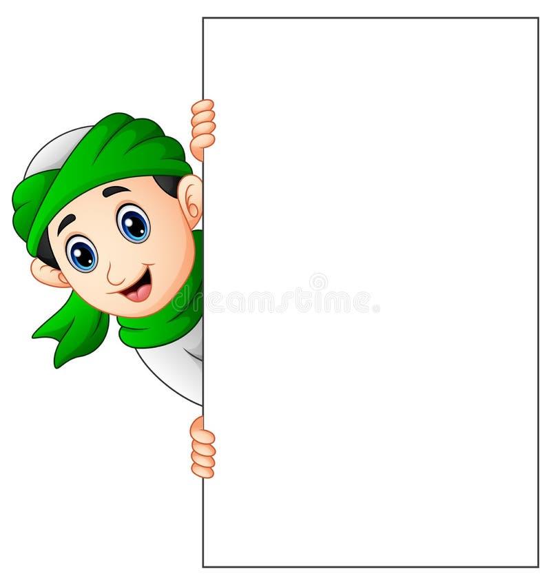 Bambino musulmano felice che tiene segno in bianco royalty illustrazione gratis