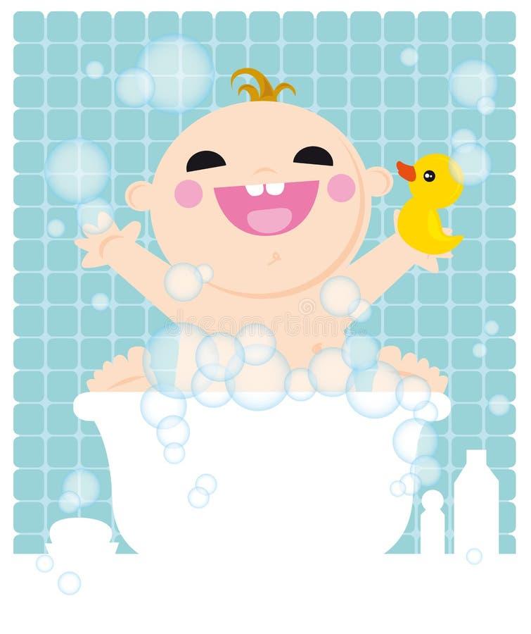 Bambino nel bagno illustrazione di stock