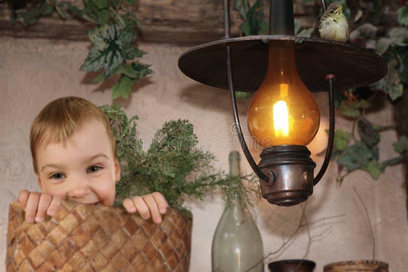 Bambino nel busket, uccello di bambino sulla lampada di cherosene Burning fotografie stock libere da diritti