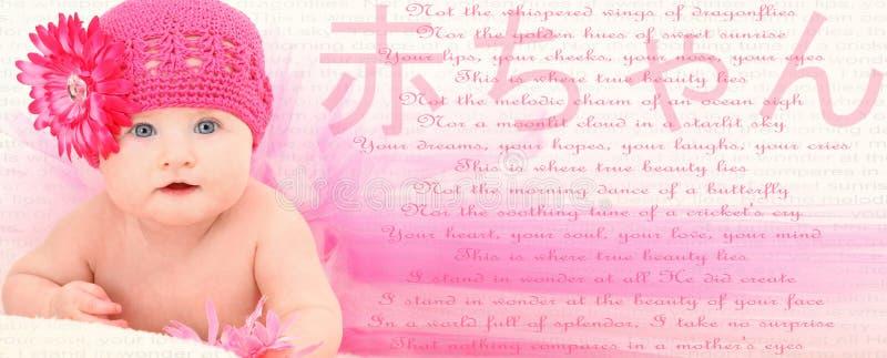 Bambino nel colore rosa con la poesia fotografia stock