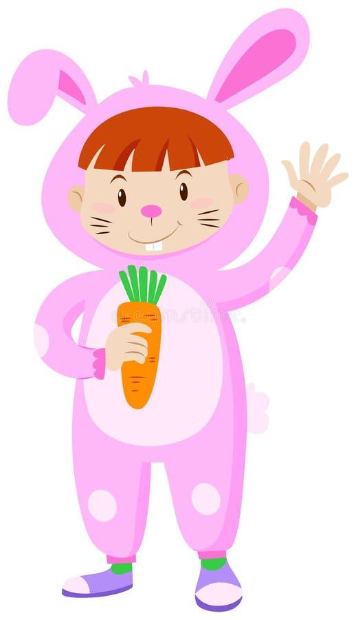 Bambino nella carota della tenuta del costume del coniglio royalty illustrazione gratis