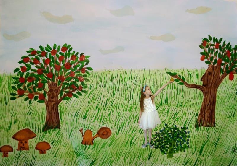Bambino nella foresta magica illustrazione vettoriale