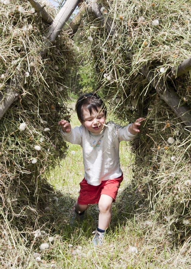 Bambino nella pila del fieno fotografie stock libere da diritti
