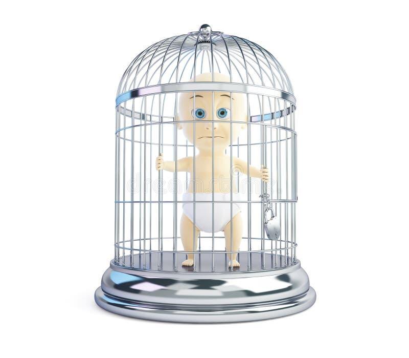 Bambino in una gabbia su un fondo bianco royalty illustrazione gratis