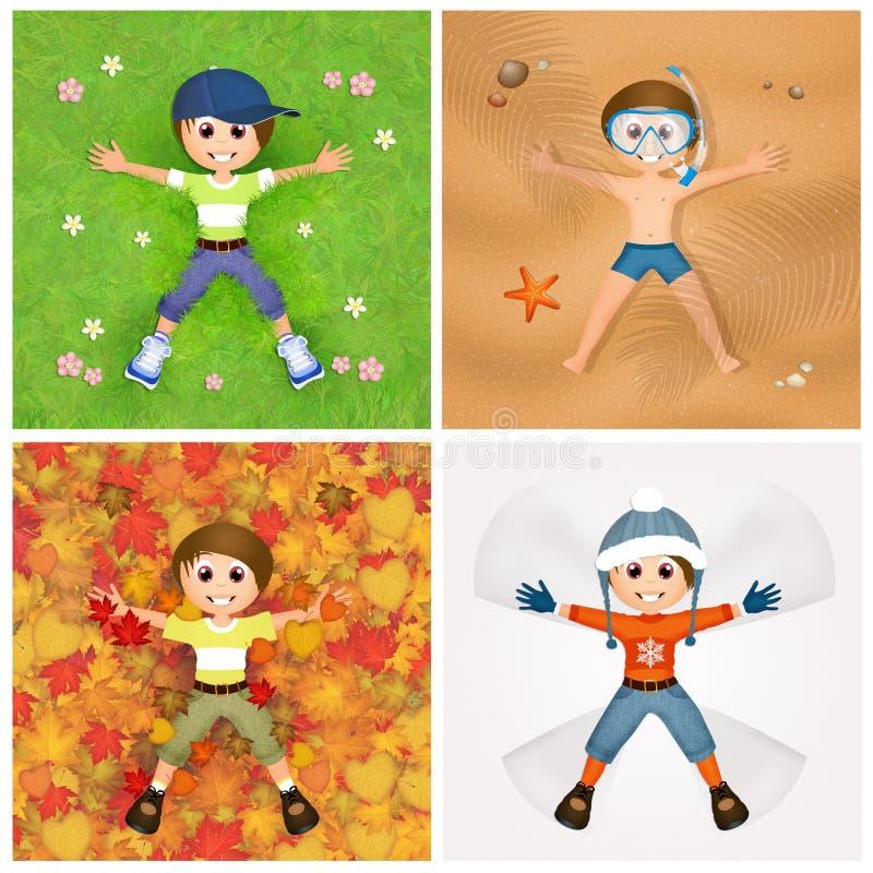 Bambino nelle quattro stagioni illustrazione vettoriale