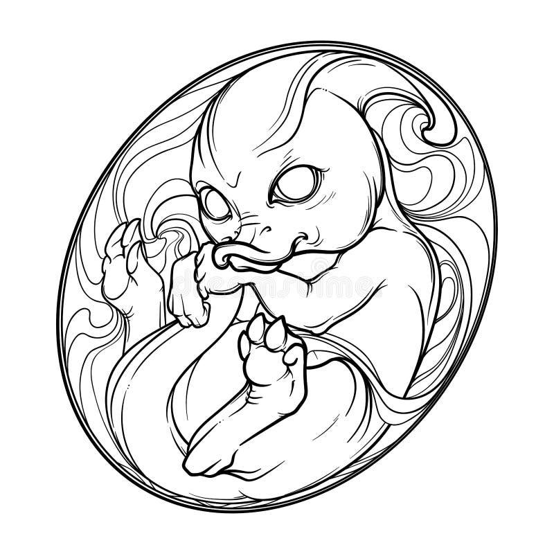 Bambino Parasaurolophus nell'uovo Disegno animale sveglio Illustrazione di stile di schizzo royalty illustrazione gratis