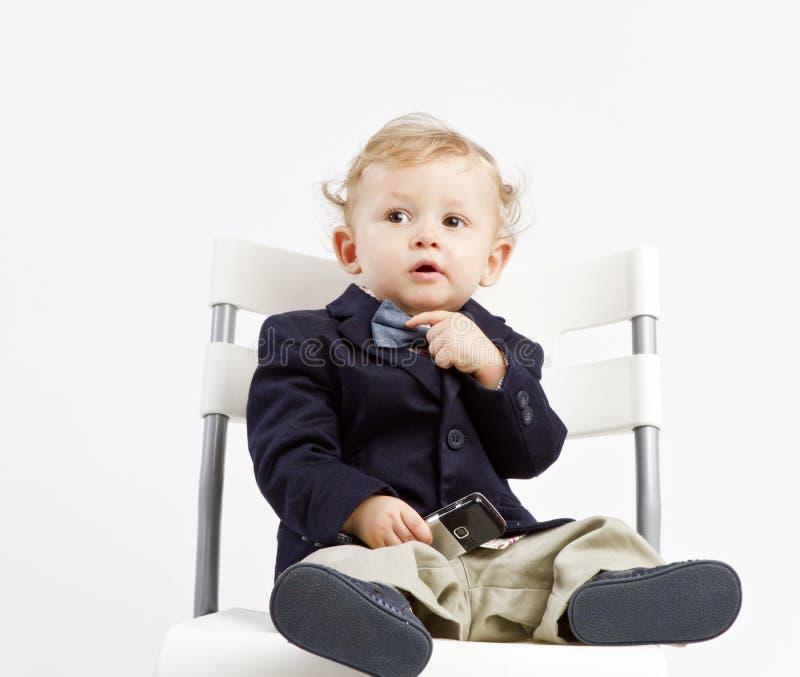 Bambino Pensive di affari fotografie stock