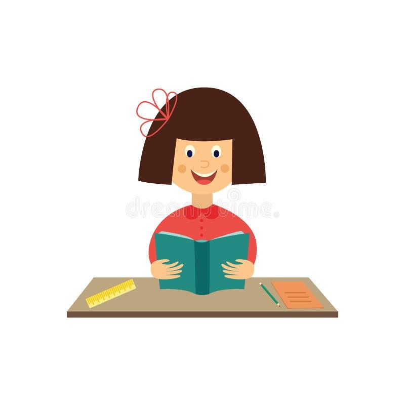 Bambino piano della ragazza di vettore che studia il libro di lettura royalty illustrazione gratis